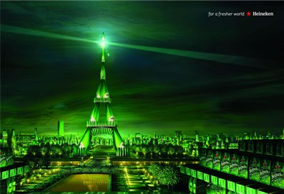 Affiches publicitaires Heineken for a fresher wold, Manhattan, rio and paris